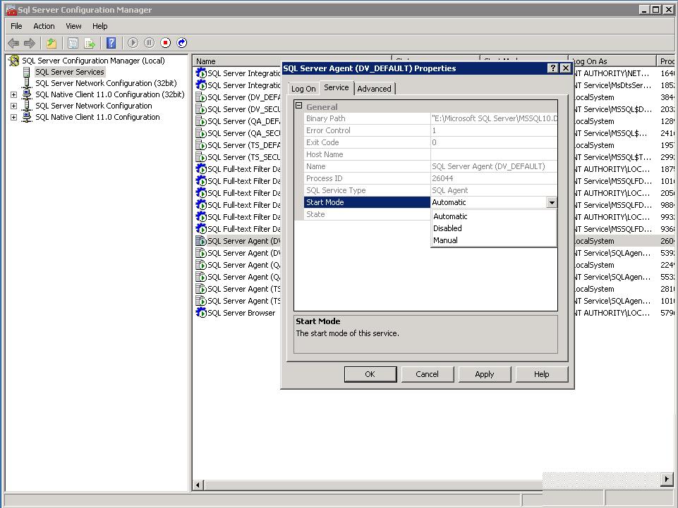 Figura 1.1 - Serviço do SQL Server Agent